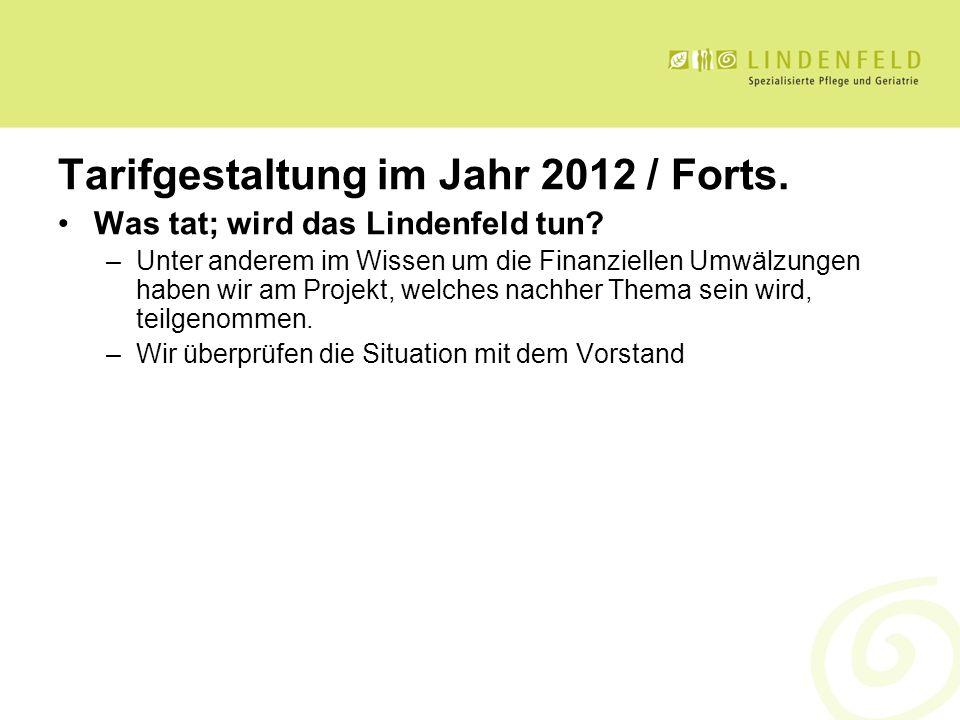 Tarifgestaltung im Jahr 2012 / Forts. Was tat; wird das Lindenfeld tun? –Unter anderem im Wissen um die Finanziellen Umwälzungen haben wir am Projekt,