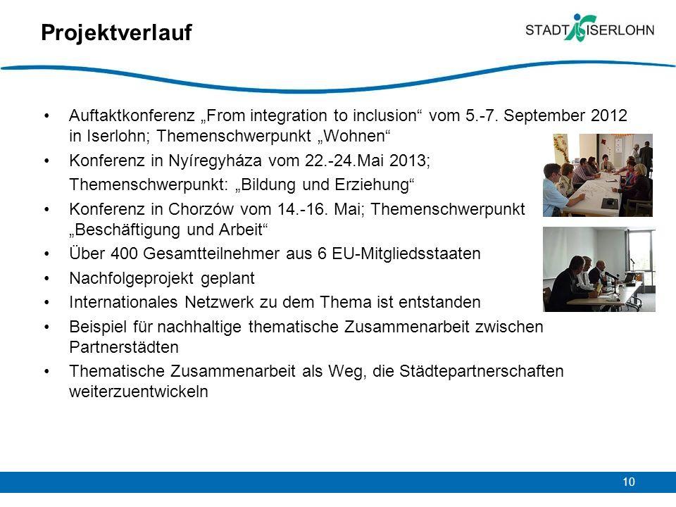10 Projektverlauf Auftaktkonferenz From integration to inclusion vom 5.-7. September 2012 in Iserlohn; Themenschwerpunkt Wohnen Konferenz in Nyíregyhá