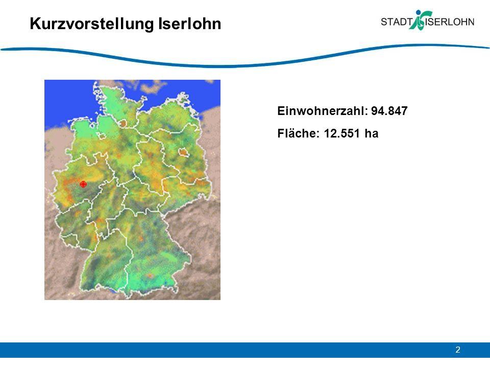 2 Kurzvorstellung Iserlohn Einwohnerzahl: 94.847 Fläche: 12.551 ha