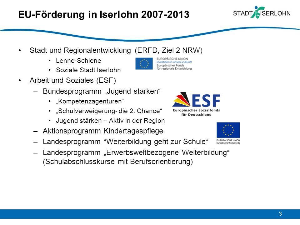 3 EU-Förderung in Iserlohn 2007-2013 Stadt und Regionalentwicklung (ERFD, Ziel 2 NRW) Lenne-Schiene Soziale Stadt Iserlohn Arbeit und Soziales (ESF) –Bundesprogramm Jugend stärken Kompetenzagenturen Schulverweigerung- die 2.