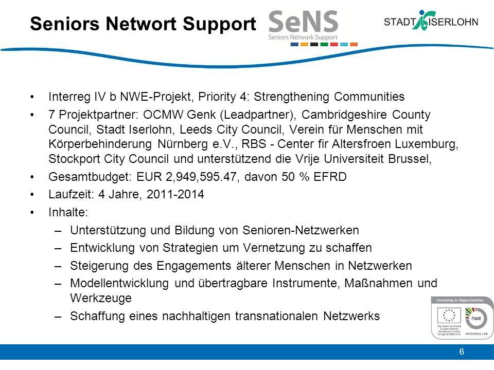 6 Seniors Networt Support Interreg IV b NWE-Projekt, Priority 4: Strengthening Communities 7 Projektpartner: OCMW Genk (Leadpartner), Cambridgeshire C