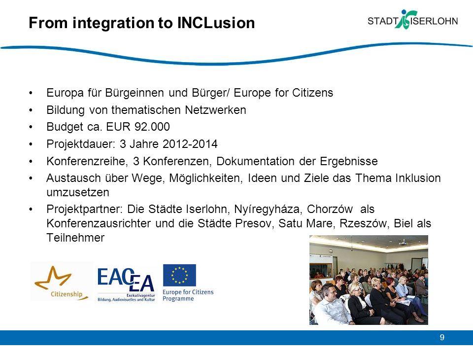 9 From integration to INCLusion Europa für Bürgeinnen und Bürger/ Europe for Citizens Bildung von thematischen Netzwerken Budget ca. EUR 92.000 Projek