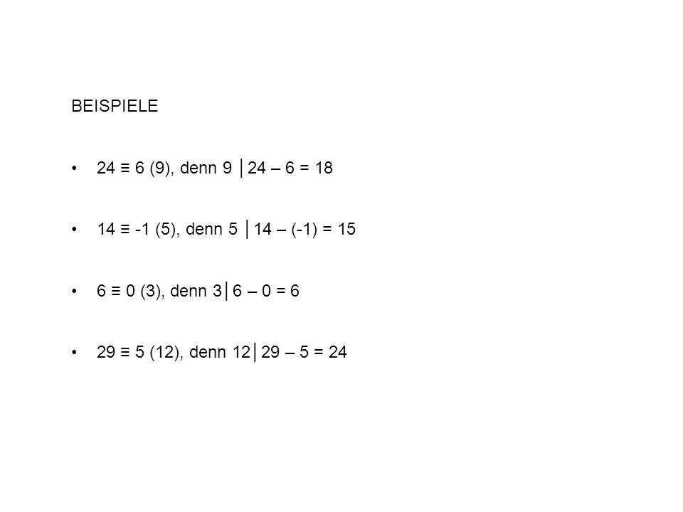 BEISPIELE 24 6 (9), denn 9 24 – 6 = 18 14 -1 (5), denn 5 14 – (-1) = 15 6 0 (3), denn 36 – 0 = 6 29 5 (12), denn 1229 – 5 = 24
