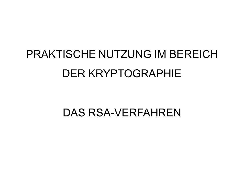 PRAKTISCHE NUTZUNG IM BEREICH DER KRYPTOGRAPHIE DAS RSA-VERFAHREN