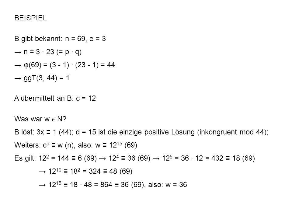 BEISPIEL B gibt bekannt: n = 69, e = 3 n = 3 23 (= p q) φ(69) = (3 - 1) (23 - 1) = 44 ggT(3, 44) = 1 A übermittelt an B: c = 12 Was war w N.