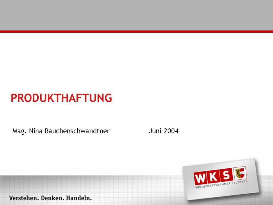 PRODUKTHAFTUNG Mag. Nina RauchenschwandtnerJuni 2004
