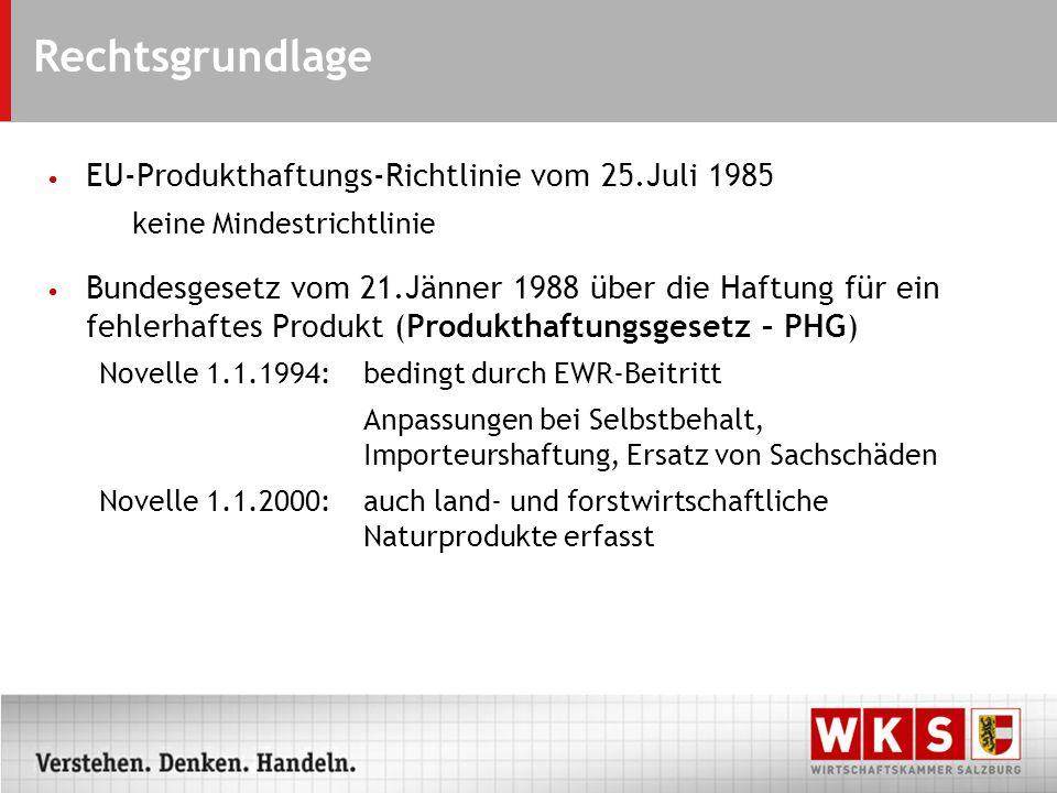 Rechtsgrundlage EU-Produkthaftungs-Richtlinie vom 25.Juli 1985 keine Mindestrichtlinie Bundesgesetz vom 21.Jänner 1988 über die Haftung für ein fehlerhaftes Produkt (Produkthaftungsgesetz – PHG) Novelle 1.1.1994:bedingt durch EWR-Beitritt Anpassungen bei Selbstbehalt, Importeurshaftung, Ersatz von Sachschäden Novelle 1.1.2000:auch land- und forstwirtschaftliche Naturprodukte erfasst