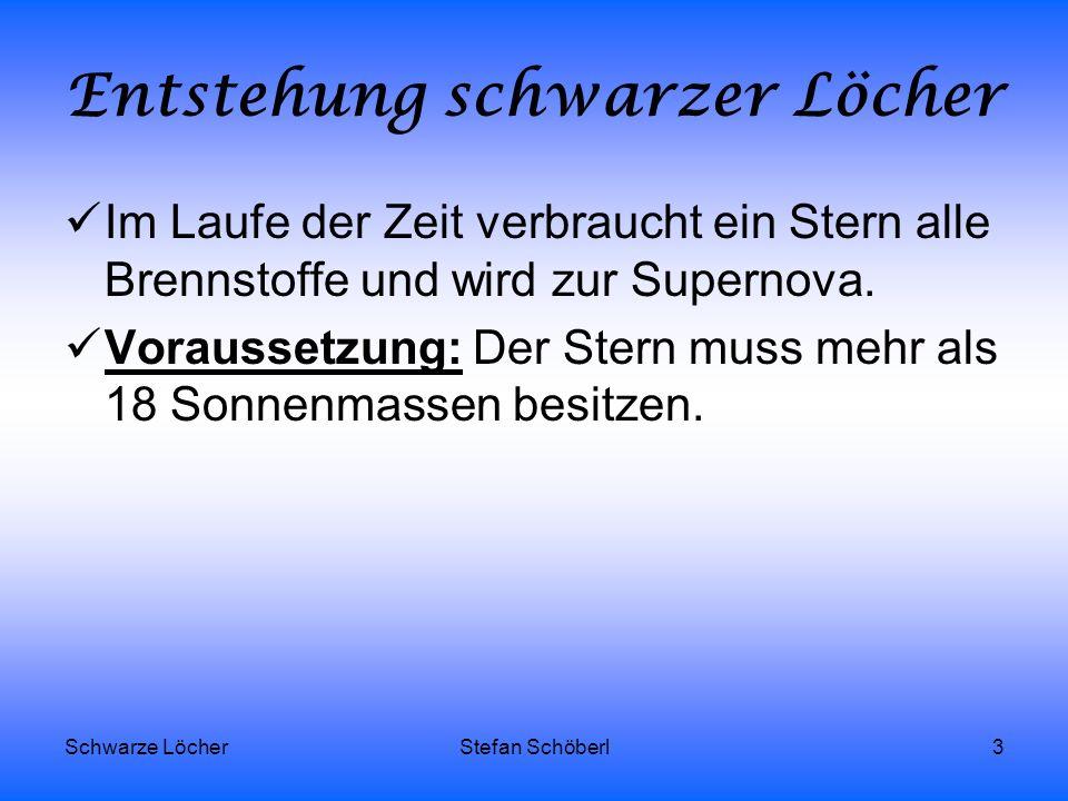 Schwarze LöcherStefan Schöberl3 Entstehung schwarzer Löcher Im Laufe der Zeit verbraucht ein Stern alle Brennstoffe und wird zur Supernova. Voraussetz