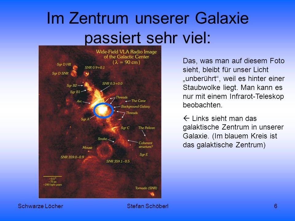 Schwarze LöcherStefan Schöberl7 Auf dieser Animation kann man sehen, dass irgendwann diese Sterne vom schwarzen Loch (rotes Kreuz) aufgefressen werden.