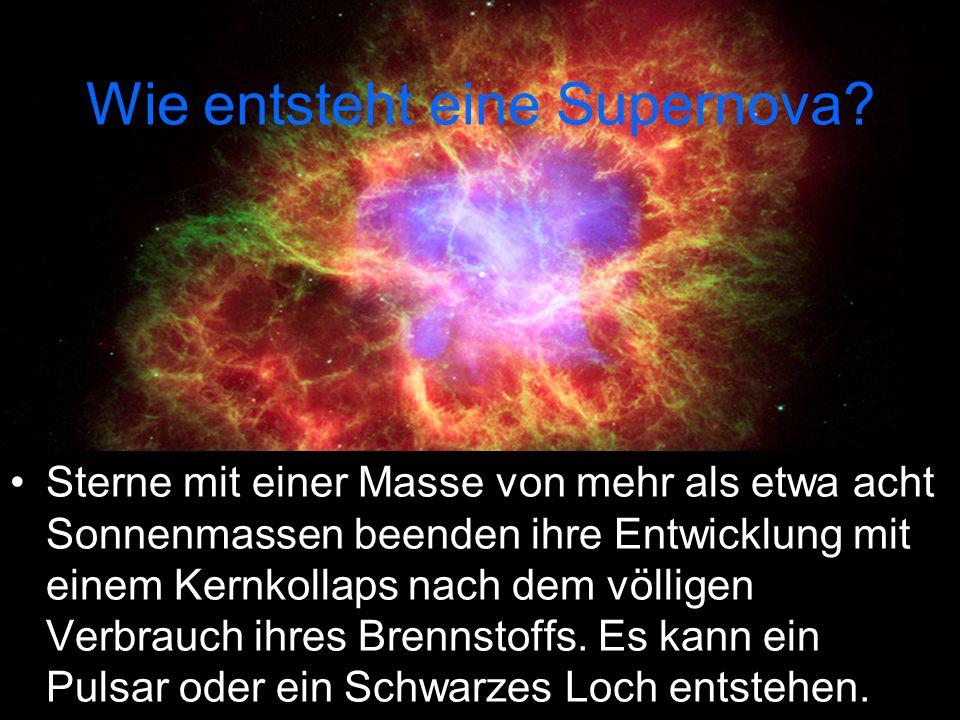 Wie entsteht eine Supernova? Sterne mit einer Masse von mehr als etwa acht Sonnenmassen beenden ihre Entwicklung mit einem Kernkollaps nach dem völlig