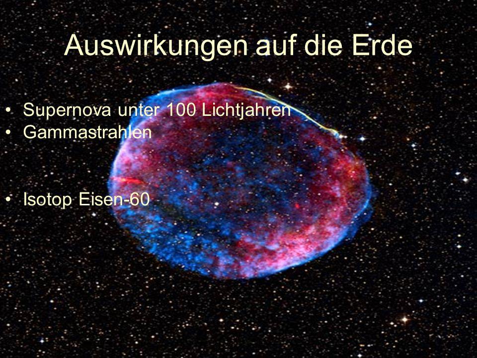 Auswirkungen auf die Erde Supernova unter 100 Lichtjahren Gammastrahlen Isotop Eisen-60