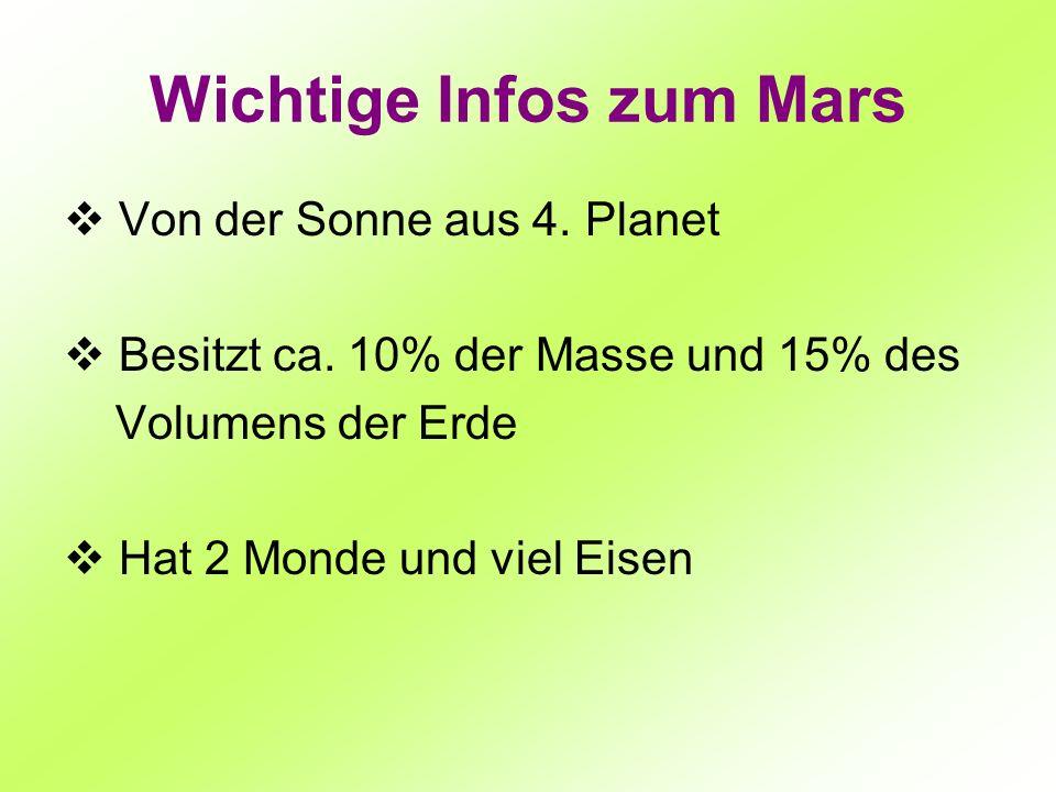 Wichtige Infos zum Mars Von der Sonne aus 4. Planet Besitzt ca. 10% der Masse und 15% des Volumens der Erde Hat 2 Monde und viel Eisen