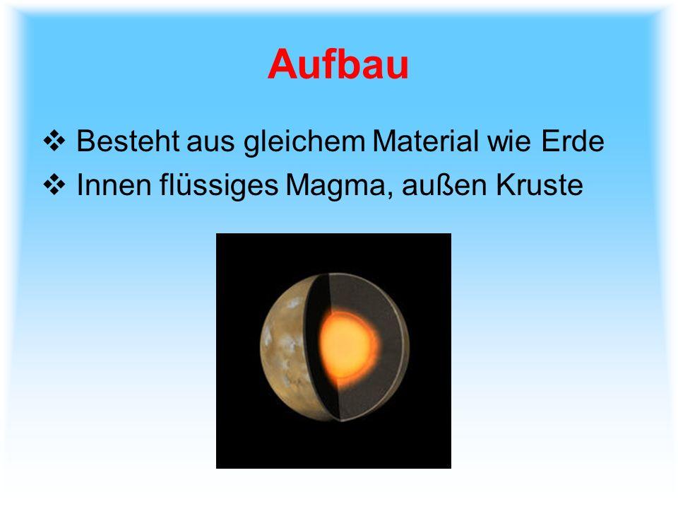 Aufbau Besteht aus gleichem Material wie Erde Innen flüssiges Magma, außen Kruste