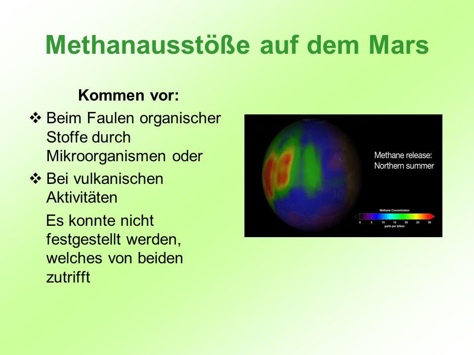 Methanausstöße auf dem Mars Kommen vor: Beim Faulen organischer Stoffe durch Mikroorganismen oder Bei vulkanischen Aktivitäten Es konnte nicht festges