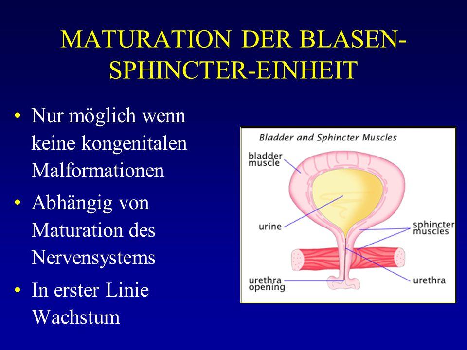 MATURATION DER BLASEN- SPHINCTER-EINHEIT Nur möglich wenn keine kongenitalen Malformationen Abhängig von Maturation des Nervensystems In erster Linie