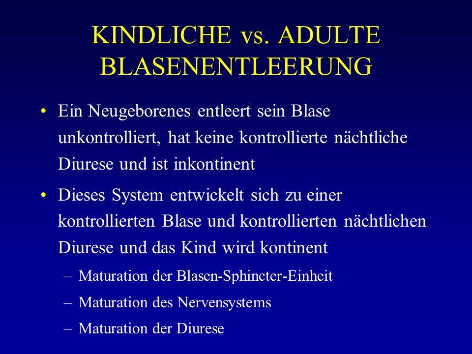 KINDLICHE vs. ADULTE BLASENENTLEERUNG Ein Neugeborenes entleert sein Blase unkontrolliert, hat keine kontrollierte nächtliche Diurese und ist inkontin