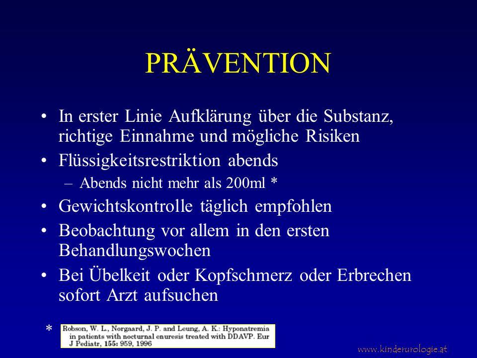 www.kinderurologie.at PRÄVENTION In erster Linie Aufklärung über die Substanz, richtige Einnahme und mögliche Risiken Flüssigkeitsrestriktion abends –