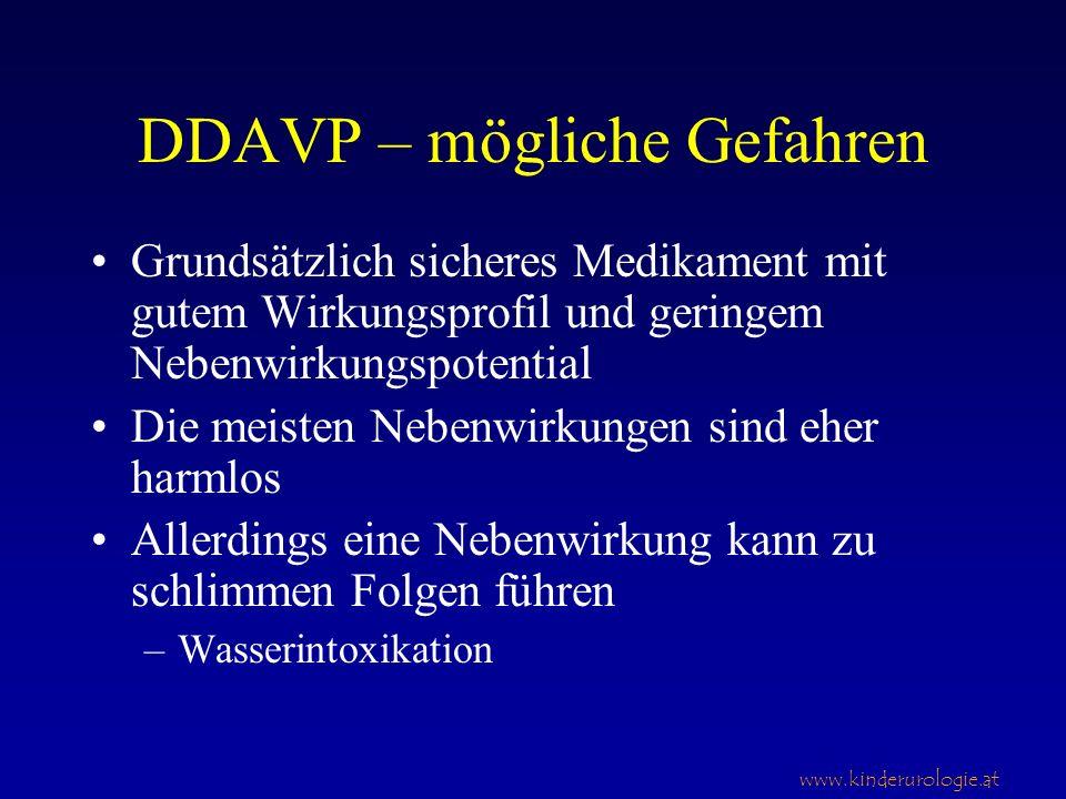 www.kinderurologie.at DDAVP – mögliche Gefahren Grundsätzlich sicheres Medikament mit gutem Wirkungsprofil und geringem Nebenwirkungspotential Die mei