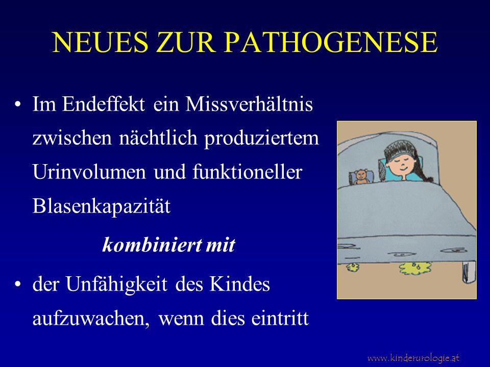 www.kinderurologie.at NEUES ZUR PATHOGENESE Im Endeffekt ein Missverhältnis zwischen nächtlich produziertem Urinvolumen und funktioneller Blasenkapazi