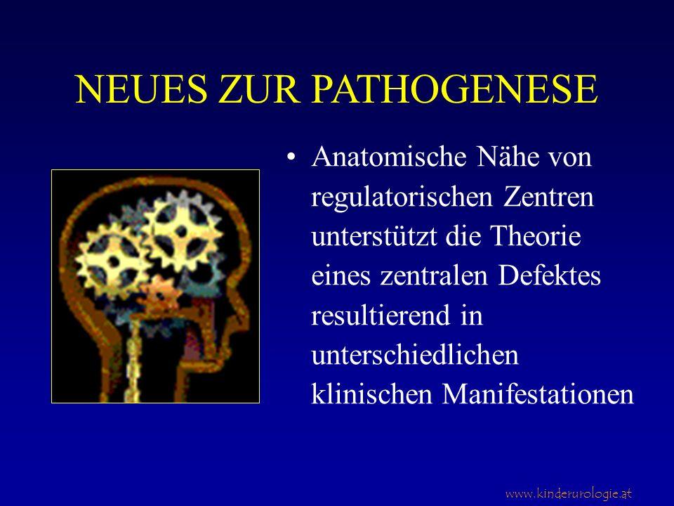 www.kinderurologie.at –Miktionsregulationszentrum (Barrington´s nucleus) –Zentrum für Urinproduktion (Nucleus supraopticus) –Schlaf-Wach-Zentrum (Locus coeruleus) –Zentrum für zirkadianen Rhythmus (Nucleus suprachiasmaticus) NEUES ZUR PATHOGENESE