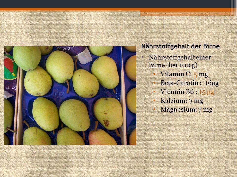 Nährstoffgehalt der Erdbeere Nährstoffgehalt einer Birne (bei 100 g) Vitamin C: 65 mg Eisen: 1mg Vitamin E: 0,1 mg Kalium: 145 mg Magnesium: 15 mg