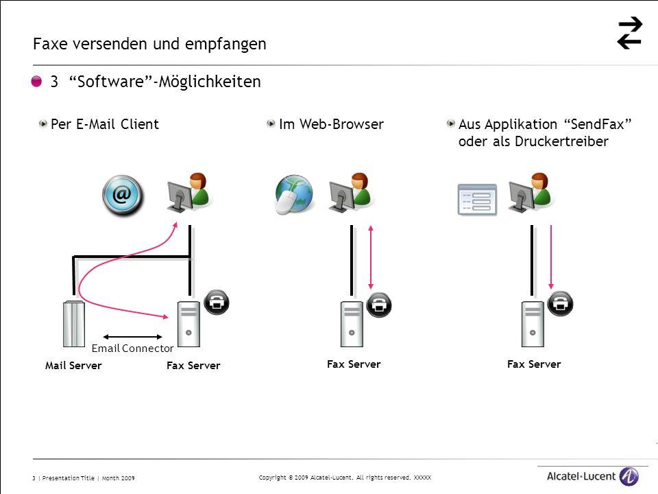 Copyright © 2009 Alcatel-Lucent. All rights reserved. XXXXX 3   Presentation Title   Month 2009 Faxe versenden und empfangen 3 Software-Möglichkeiten