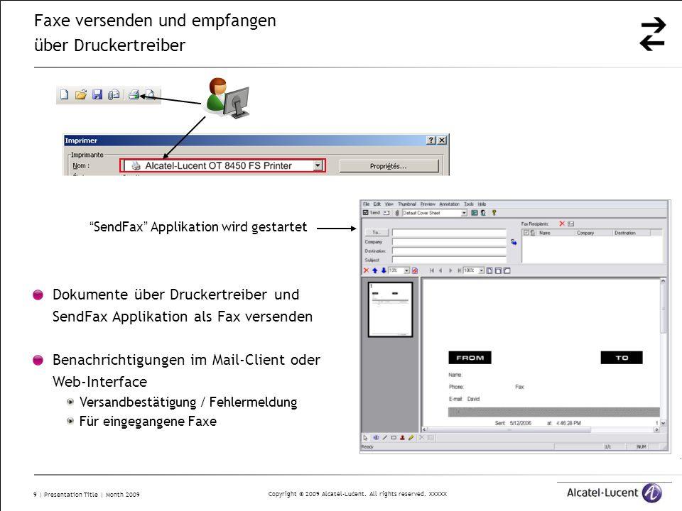 Copyright © 2009 Alcatel-Lucent. All rights reserved. XXXXX 9   Presentation Title   Month 2009 SendFax Applikation wird gestartet Dokumente über Druc