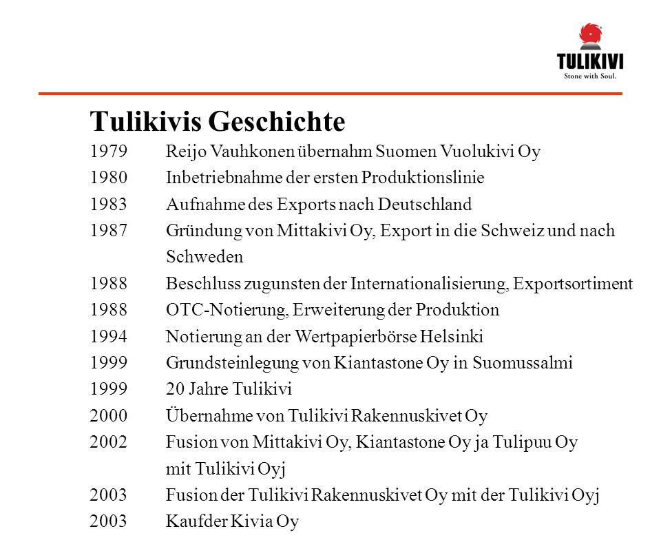 1979Reijo Vauhkonen übernahm Suomen Vuolukivi Oy 1980Inbetriebnahme der ersten Produktionslinie 1983Aufnahme des Exports nach Deutschland 1987Gründung