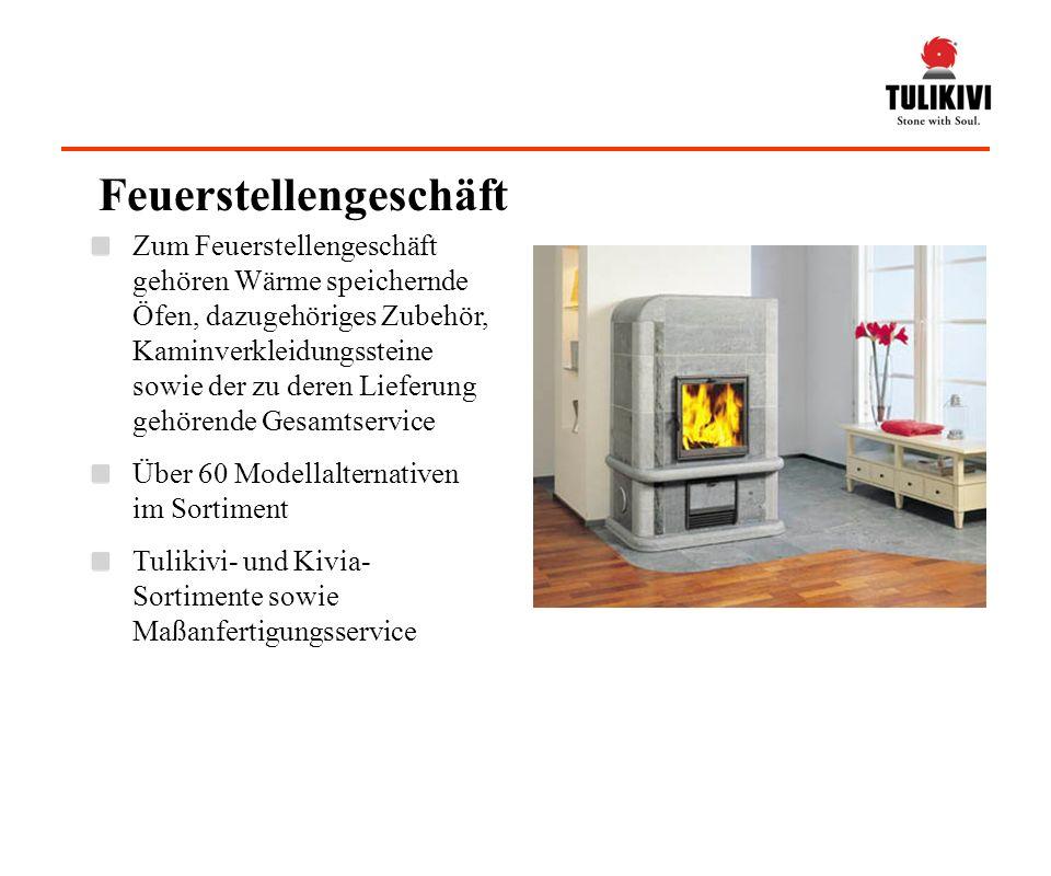 Feuerstellengeschäft Zum Feuerstellengeschäft gehören Wärme speichernde Öfen, dazugehöriges Zubehör, Kaminverkleidungssteine sowie der zu deren Liefer