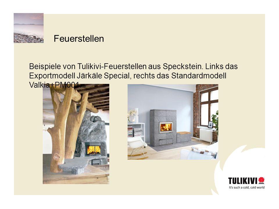 Beispiele von Tulikivi-Feuerstellen aus Speckstein.