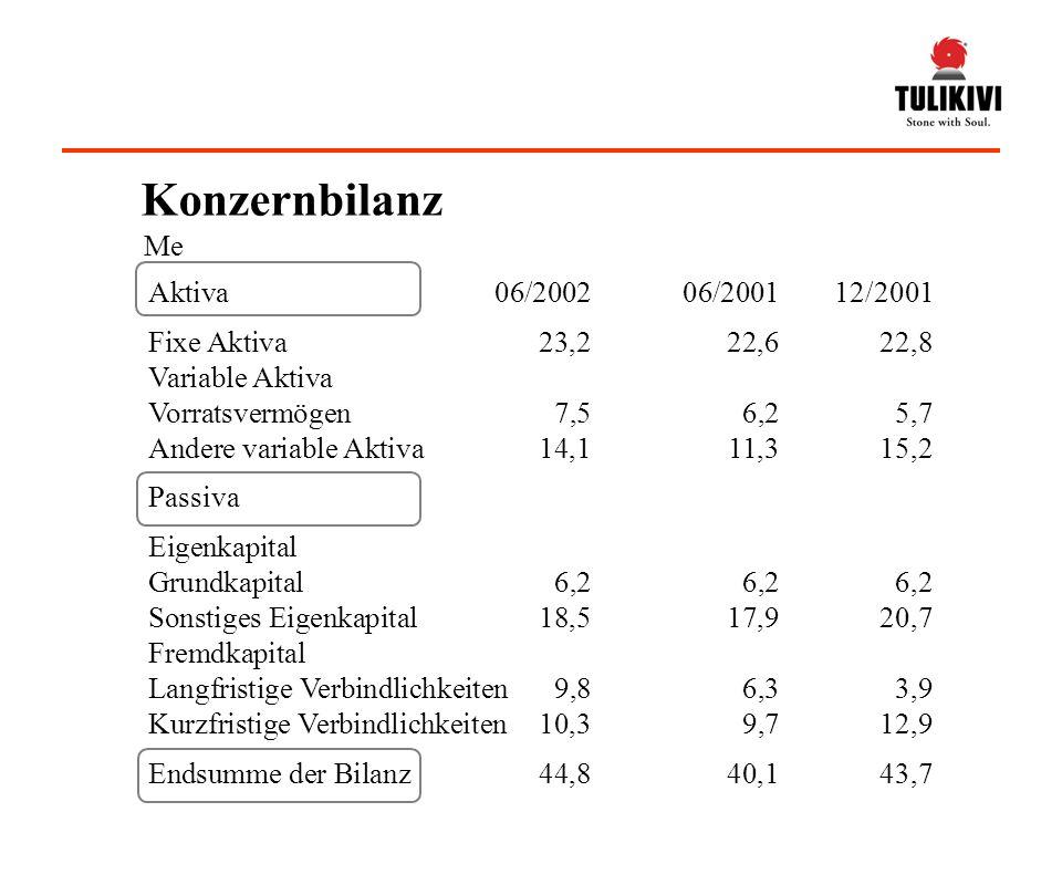 Ergebnis je Aktie, 0,360,97 Grundkapital je Aktie, 13,5513,18 Eigenkapitalquote, %55,561,4 Current Ratio 2,11,8 Auftragsbestand, (30.6), Me6,58,6 Bruttoinvestitionen, Me2,54,0 Bruttoinvestitionen/Umsatz, %9,914,8 06/2002 06/2001 Anzahl der Aktien durchschnittlich 17997241776916 Anzahl der Aktien 30.617997241799724 Kennzahlen
