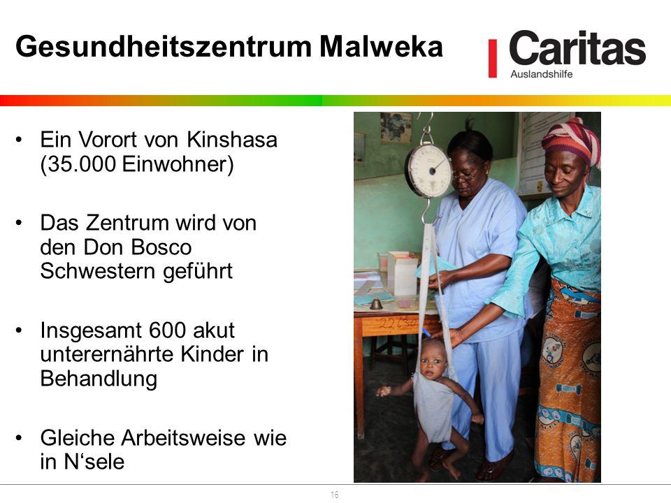 16 Gesundheitszentrum Malweka Ein Vorort von Kinshasa (35.000 Einwohner) Das Zentrum wird von den Don Bosco Schwestern geführt Insgesamt 600 akut unterernährte Kinder in Behandlung Gleiche Arbeitsweise wie in Nsele