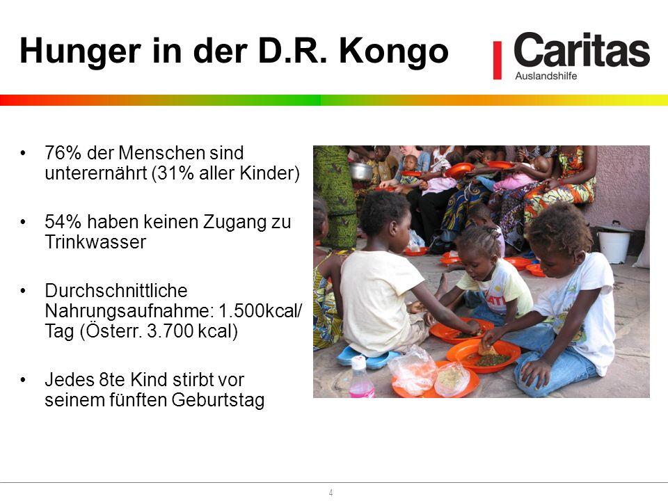 4 Hunger in der D.R. Kongo 76% der Menschen sind unterernährt (31% aller Kinder) 54% haben keinen Zugang zu Trinkwasser Durchschnittliche Nahrungsaufn