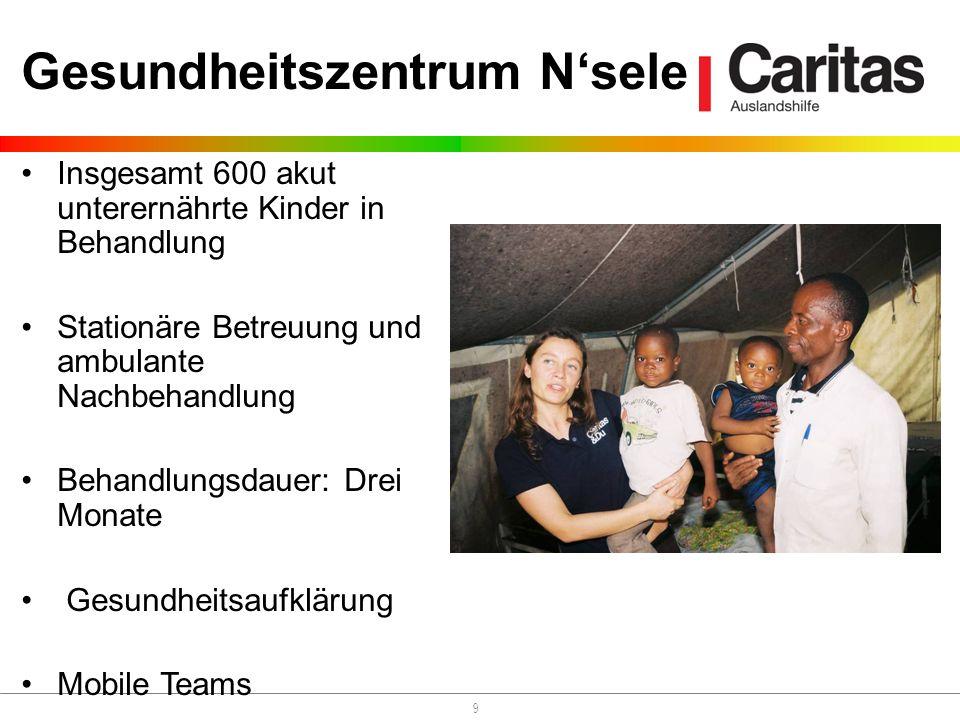 9 Gesundheitszentrum Nsele Insgesamt 600 akut unterernährte Kinder in Behandlung Stationäre Betreuung und ambulante Nachbehandlung Behandlungsdauer: Drei Monate Gesundheitsaufklärung Mobile Teams