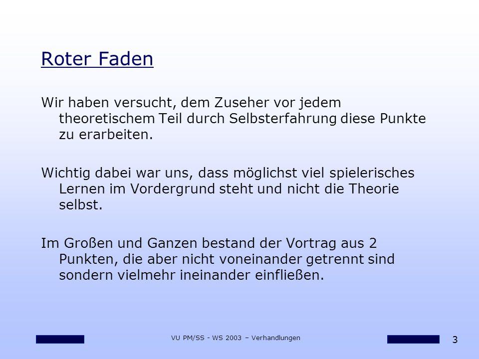 24 VU PM/SS - WS 2003 – Verhandlungen Potenziale Freisetzen Üben, üben und nochmals üben...