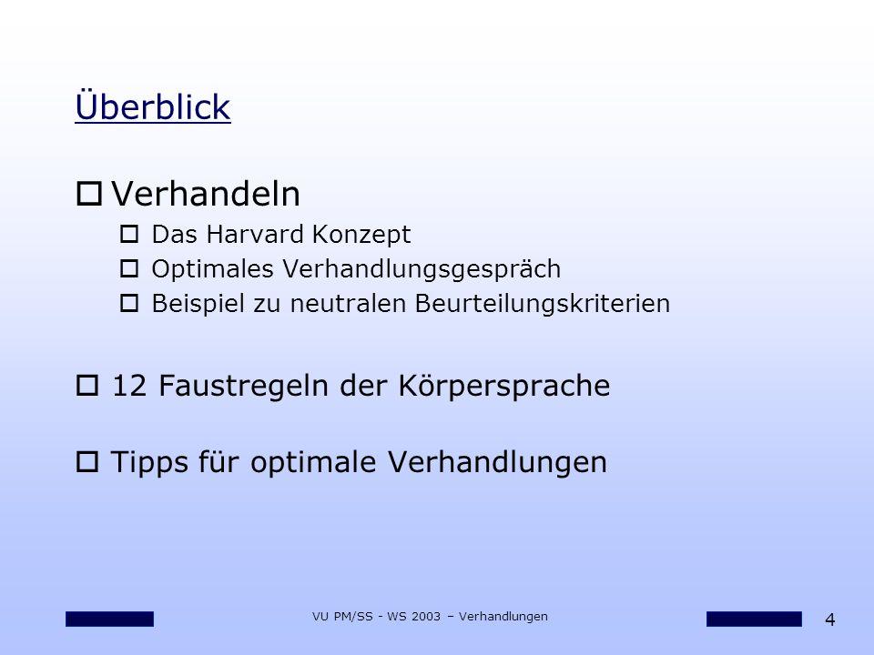 25 VU PM/SS - WS 2003 – Verhandlungen Faustregeln für Körperhaltung bei Verhandlungen