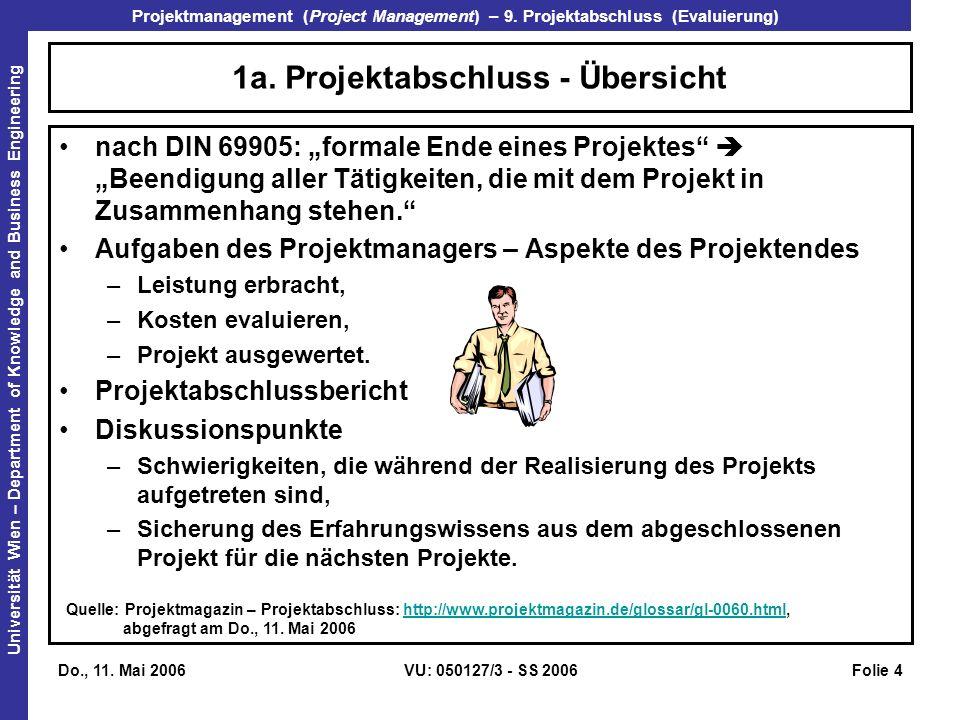 Projektmanagement (Project Management) – 9. Projektabschluss (Evaluierung) Universität Wien – Department of Knowledge and Business Engineering Do., 11