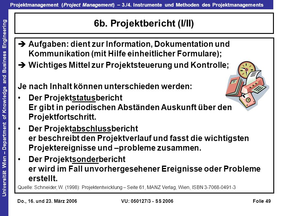 Projektmanagement (Project Management) – 3./4. Instrumente und Methoden des Projektmanagements Universität Wien – Department of Knowledge and Business