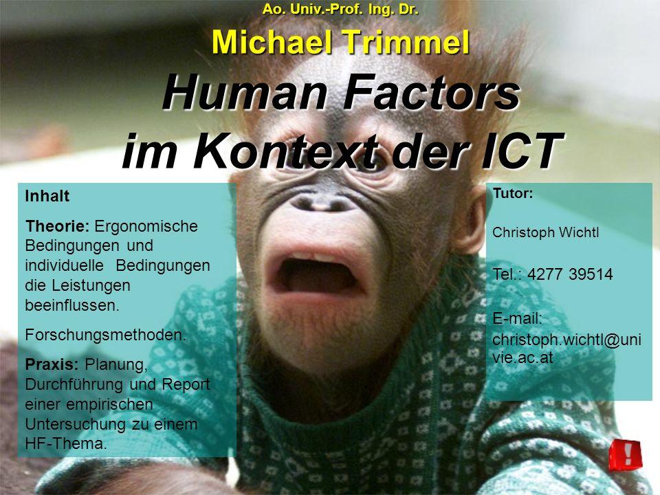 Ao. Univ.-Prof. Ing. Dr. Michael Trimmel Human Factors im Kontext der ICT Inhalt Theorie: Ergonomische Bedingungen und individuelle Bedingungen die Le