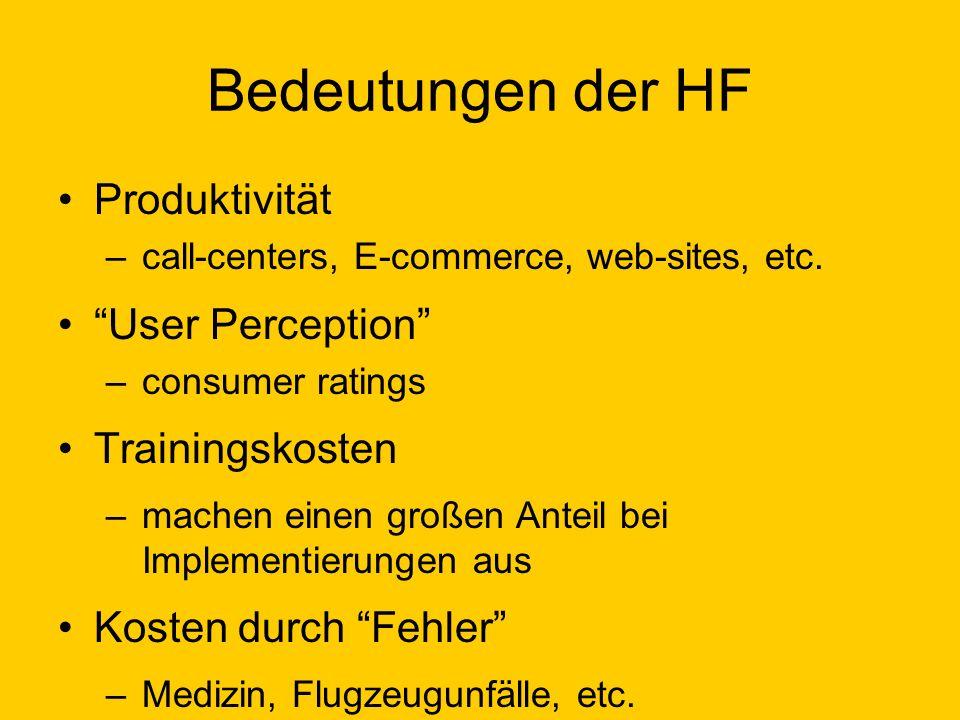 Bedeutungen der HF Produktivität –call-centers, E-commerce, web-sites, etc. User Perception –consumer ratings Trainingskosten –machen einen großen Ant