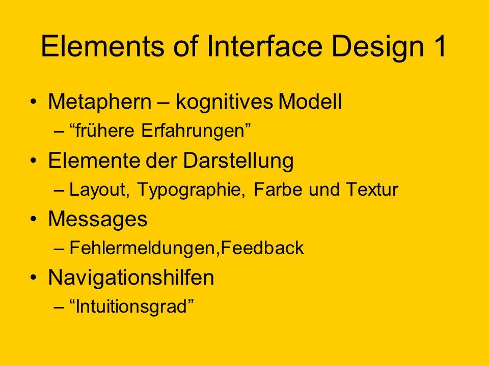 Elements of Interface Design 1 Metaphern – kognitives Modell –frühere Erfahrungen Elemente der Darstellung –Layout, Typographie, Farbe und Textur Mess