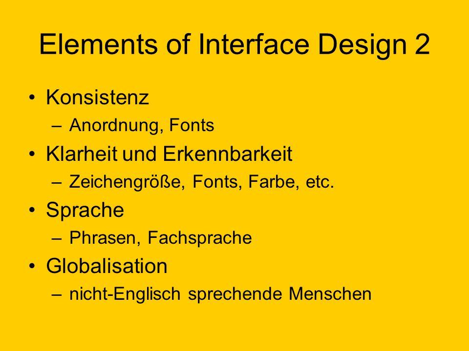 Elements of Interface Design 2 Konsistenz –Anordnung, Fonts Klarheit und Erkennbarkeit –Zeichengröße, Fonts, Farbe, etc. Sprache –Phrasen, Fachsprache