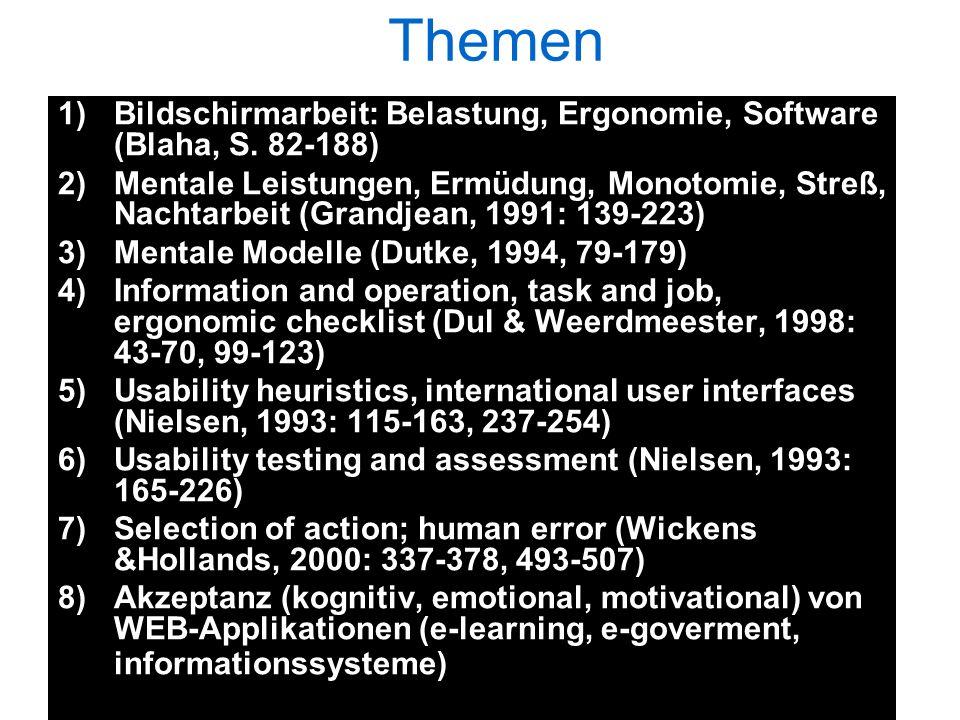Themen 1)Bildschirmarbeit: Belastung, Ergonomie, Software (Blaha, S. 82-188) 2)Mentale Leistungen, Ermüdung, Monotomie, Streß, Nachtarbeit (Grandjean,