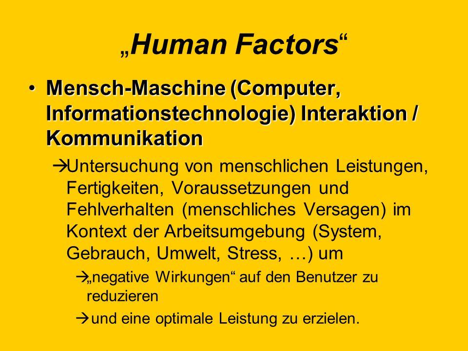 Human Factors Mensch-Maschine (Computer, Informationstechnologie) Interaktion / KommunikationMensch-Maschine (Computer, Informationstechnologie) Inter