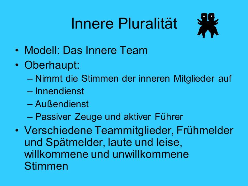 Innere Pluralität Modell: Das Innere Team Oberhaupt: –Nimmt die Stimmen der inneren Mitglieder auf –Innendienst –Außendienst –Passiver Zeuge und aktiver Führer Verschiedene Teammitglieder, Frühmelder und Spätmelder, laute und leise, willkommene und unwillkommene Stimmen