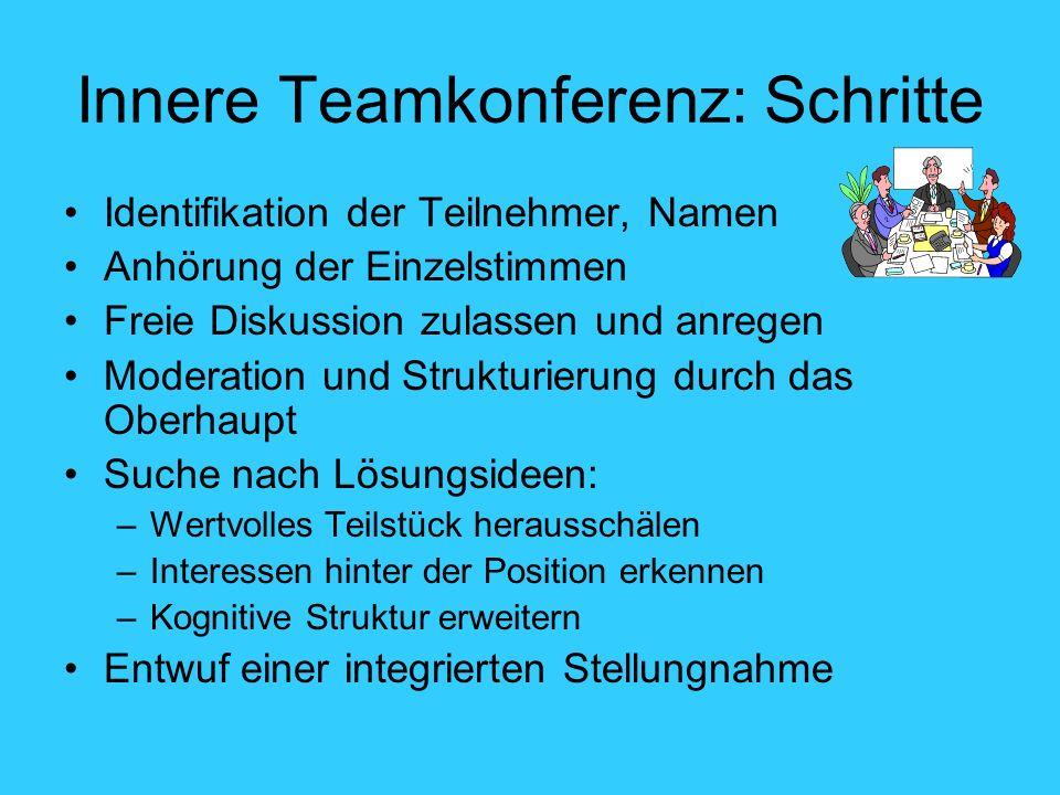 Innere Teamkonferenz: Schritte Identifikation der Teilnehmer, Namen Anhörung der Einzelstimmen Freie Diskussion zulassen und anregen Moderation und St