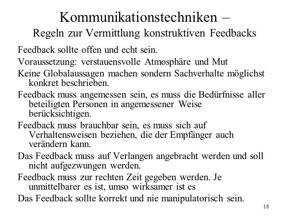 18 Kommunikationstechniken – Regeln zur Vermittlung konstruktiven Feedbacks Feedback sollte offen und echt sein. Voraussetzung: verstauensvolle Atmosp