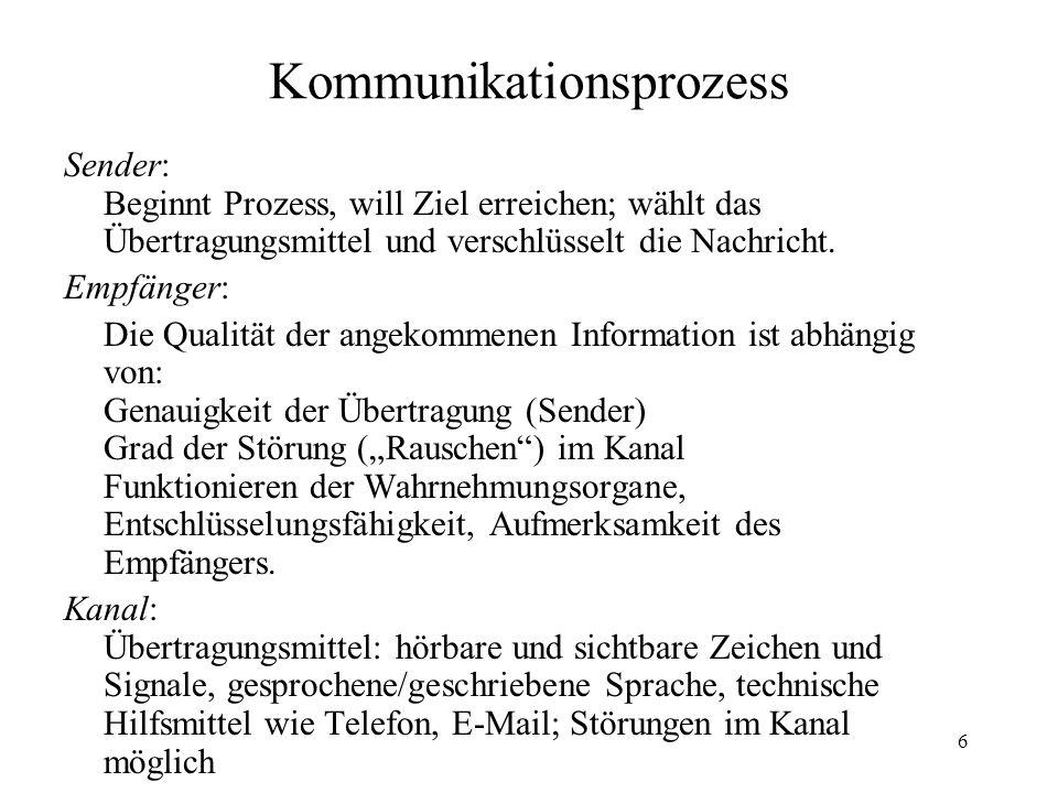 6 Kommunikationsprozess Sender: Beginnt Prozess, will Ziel erreichen; wählt das Übertragungsmittel und verschlüsselt die Nachricht. Empfänger: Die Qua