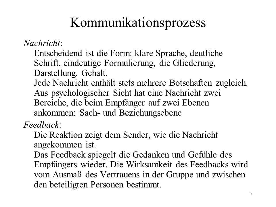 7 Kommunikationsprozess Nachricht: Entscheidend ist die Form: klare Sprache, deutliche Schrift, eindeutige Formulierung, die Gliederung, Darstellung,