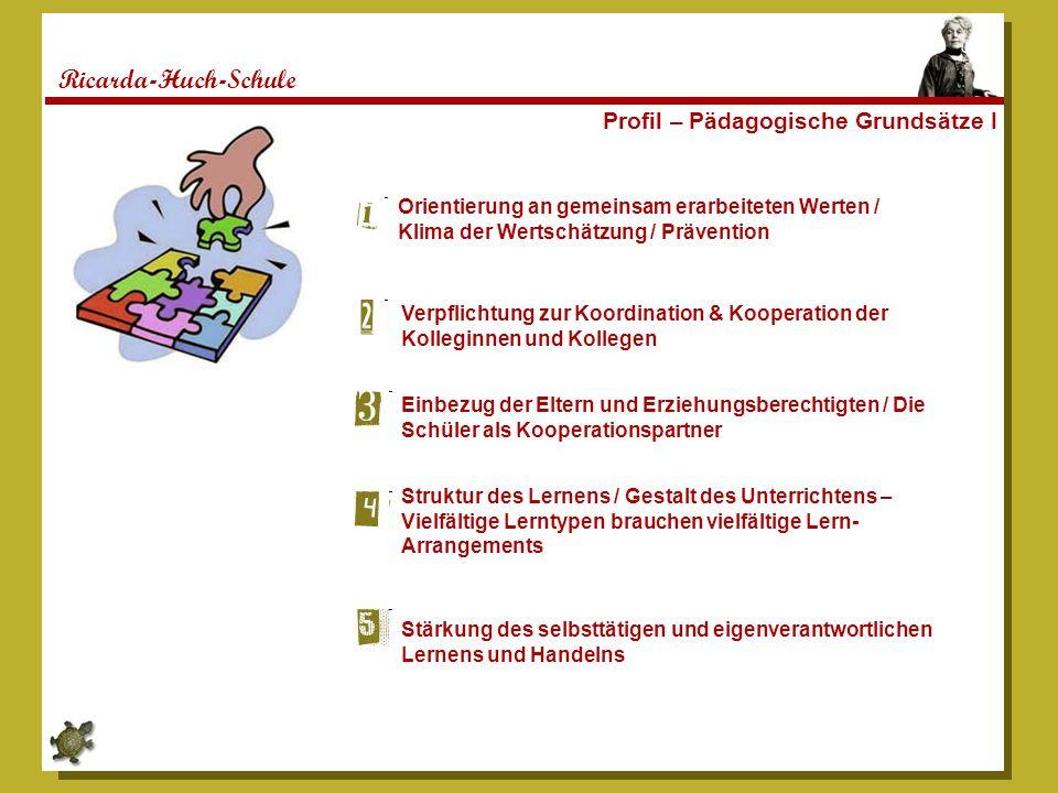 Ricarda-Huch-Schule Profil – Pädagogische Grundsätze I Orientierung an gemeinsam erarbeiteten Werten / Klima der Wertschätzung / Prävention Verpflicht
